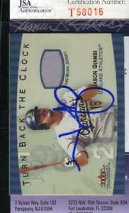 Jason Giambi 2001 Fleer Jersey Jsa Coa Hand Signed Authentic Autographed