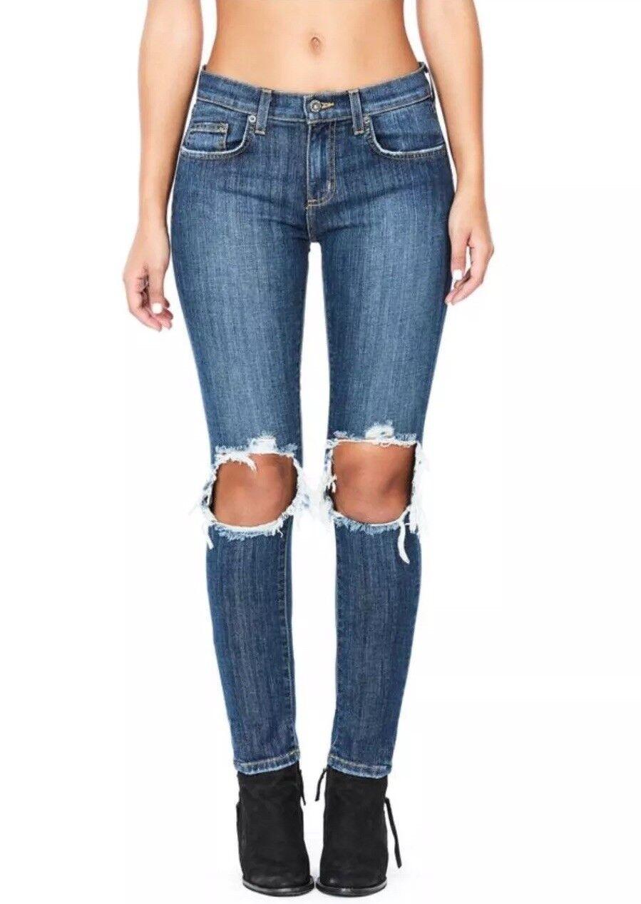 LF carmar mid rise dark wash cut out knee skinny jeans sz 26