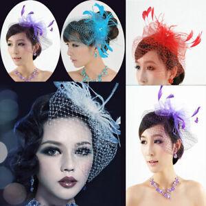 Women-Feather-Fascinator-Hat-Hair-Clip-Wedding-Bridal-Birdcage-Veil-Headwear-US