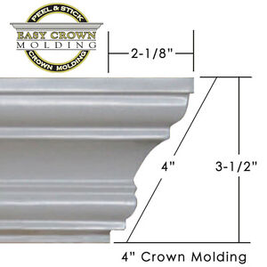 4 peel stick easy crown molding 50 39 kit all corners pre cut no tools. Black Bedroom Furniture Sets. Home Design Ideas