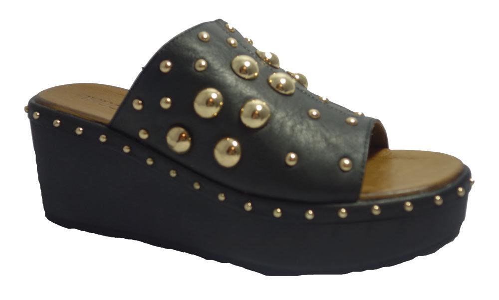 INUOVO popolari, Plateau-Pantoletten schwarz/gold Nieten,Gli stivali da donna classici sono popolari, INUOVO economici e hanno dimensioni 66fa62