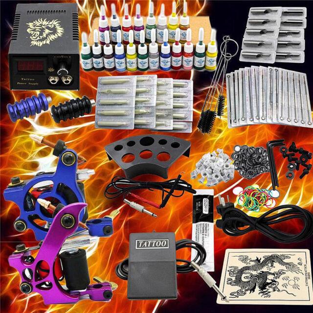 Komplett Tätowierung 2 Tattoomaschine Set Kit 20 Farben Inks 50 Nadeln Anfänger