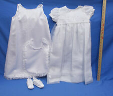 Christening Dress 12 Month Girls White Flower Girl Birthday 2 Pieces Shoes & Bib