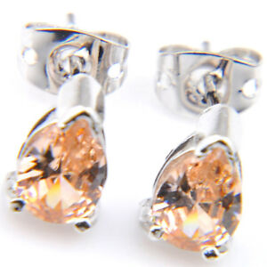Christmas-Holiday-Gifts-Shiny-Gorgeous-Morganite-Gems-Silver-Stud-Earrings