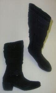 Details zu Janet D. Damen Stiefel hohe Boots seitlicher Reißverschluss schwarz Leder NEU
