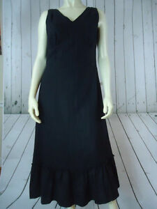 J-Jill-Dress-4-Black-Linen-Sleeveless-Long-Peasant-Ruffle-Hem-Side-Zipper-Lined