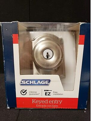 Schlage Lock F51 V GEO 619 Georgian Satin Nickel Keyed Entrance Knob FREE SHIP!!