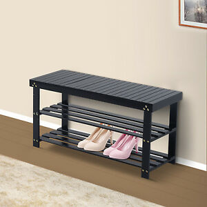black wood entryway benches with shoe storages | Wooden Shoe Bench Storage Seat 2 Shelves Rack Organizer ...