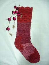 Free People Anthropologie Christmas Stocking Red Pink Crochet FP
