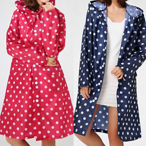 Waterproof-Lady-Dotted-Raincoat-Outdoor-Travel-Hooded-Long-Rain-Coat-Jacket