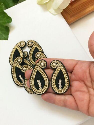 1 par de piedra de trabajo zari indio Diamonte Espejo Sari Blusa Apliques//estilo Motif