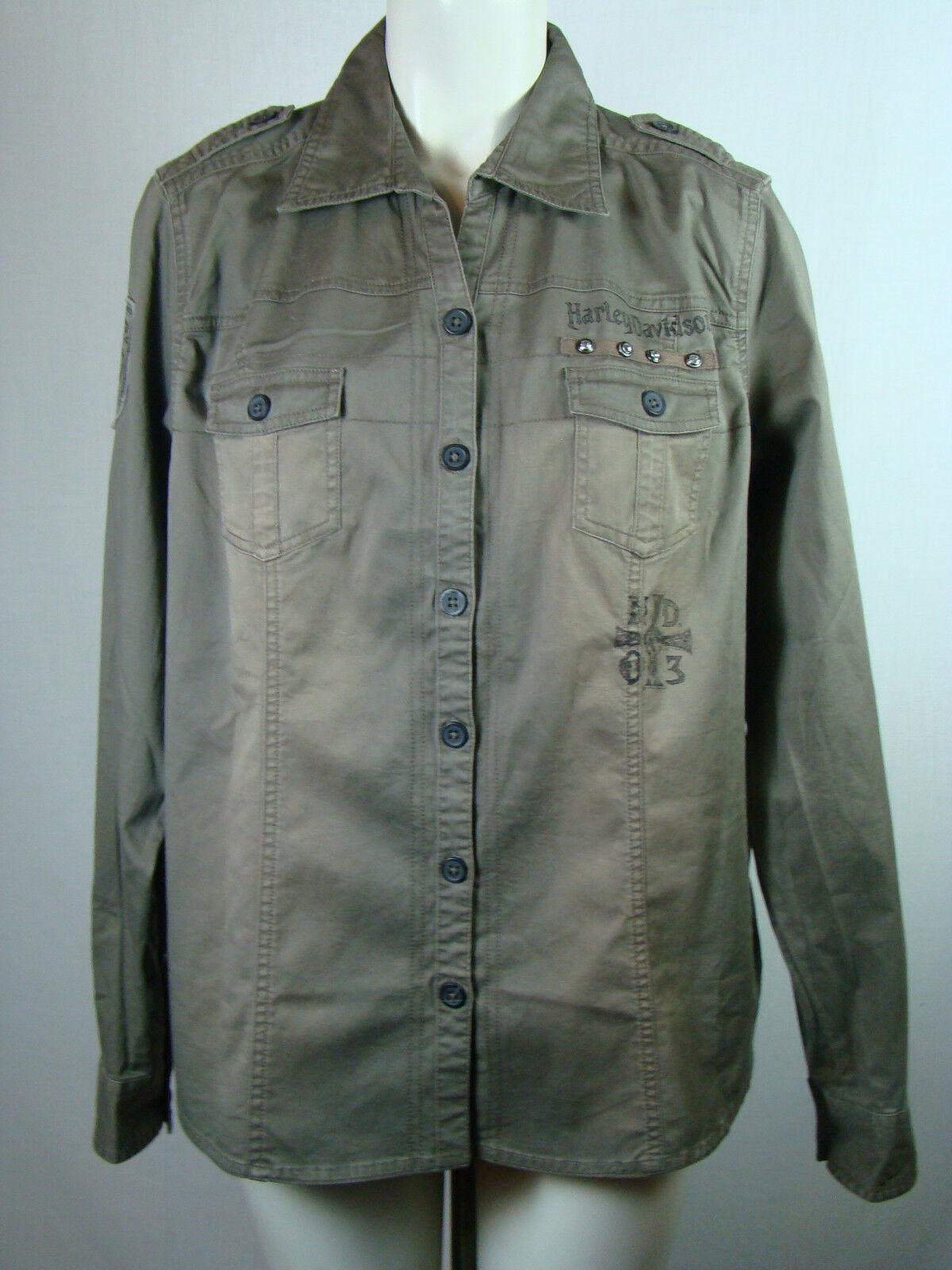 Harley-Davidson Woherren Vintage Wash Twill Long Sleeve Shirt Grün 96112 XL