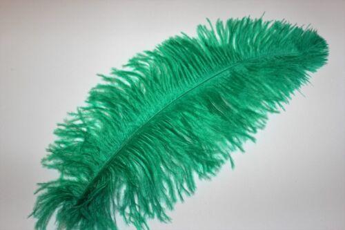 """10 Ten 14-16/"""" emerald green ostrich blondene feather first grade 350-400MM"""