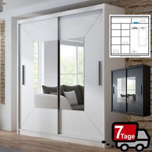 kleiderschrank boston mit spiegeln schwarz oder wei mit schiebet ren m bel ebay. Black Bedroom Furniture Sets. Home Design Ideas