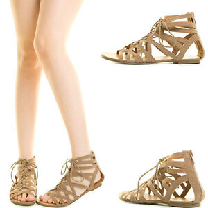 bfe593d1b26af Taupe Open Toe Strappy Lace Up Cage Cut Out Gladiator Rome Women Zip ...