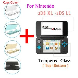 For-Nintendo-2DS-XL-2DS-LL-Game-Soft-Cover-Skin-Case-Protector-amp-Temered-Glass