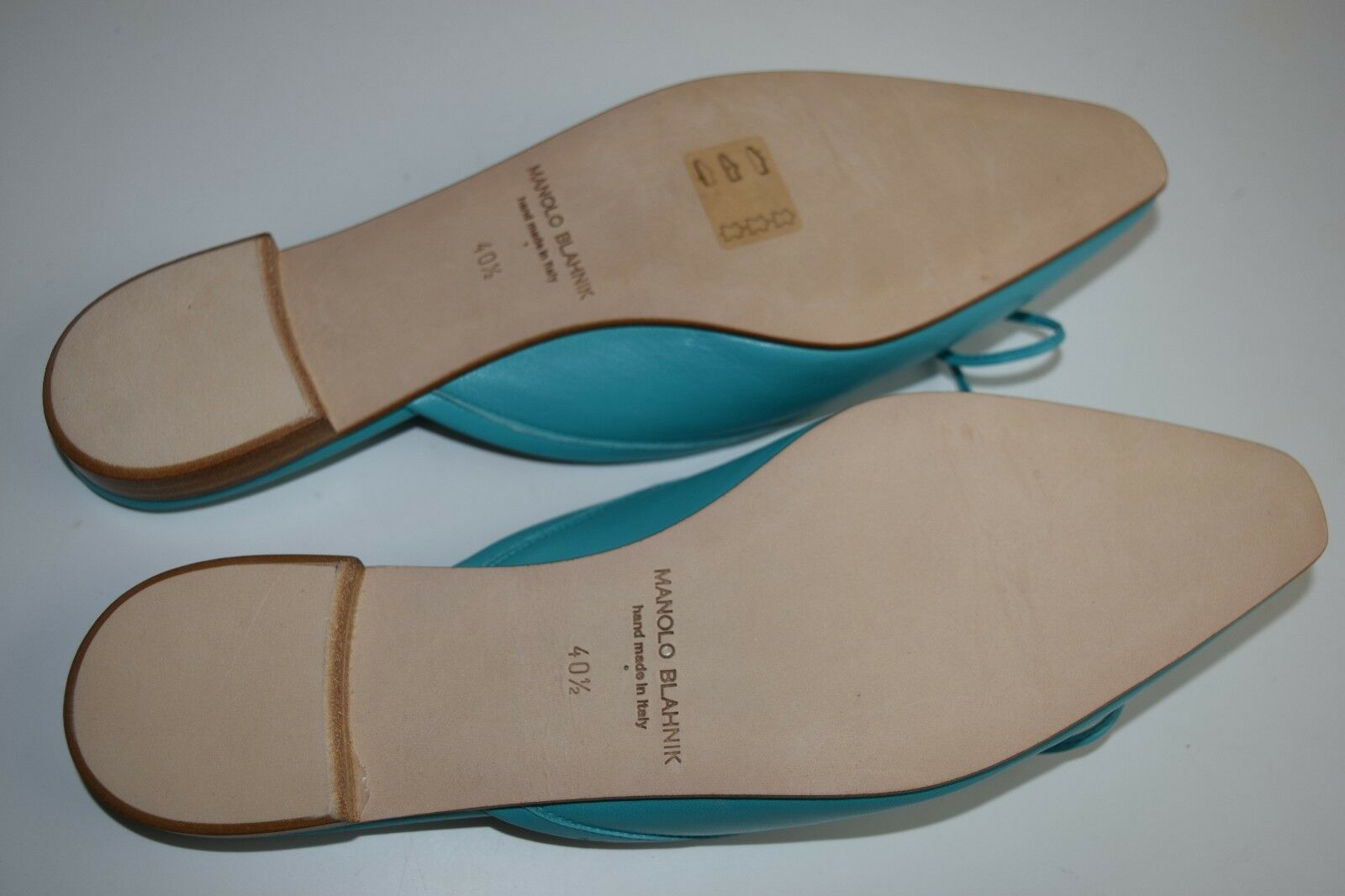 New Manolo Blahnik Ballerimu Ballerimu Ballerimu Leather Bow Mules Flats chaussures Turquoise 39 40.5 41.5 1fef8f