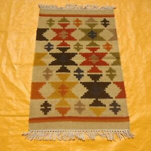 Details About Fine Antique Hand Made Turkish Faded Cream Red 100 Wool Kilim Dhurrie Rug 2x3ft