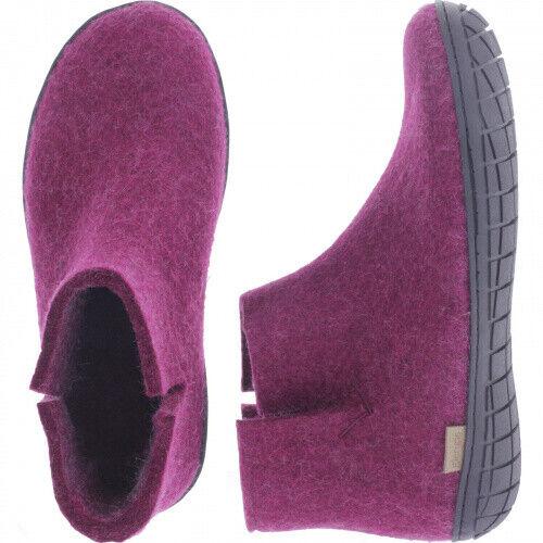 Glerups   Modell   GR    Cranberry Wollfilz   Schwarz-Sohle   Geschlossene Schuh