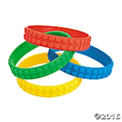 12 Block Party Rubber Bracelets Primary colors - red, blue, green & yellow