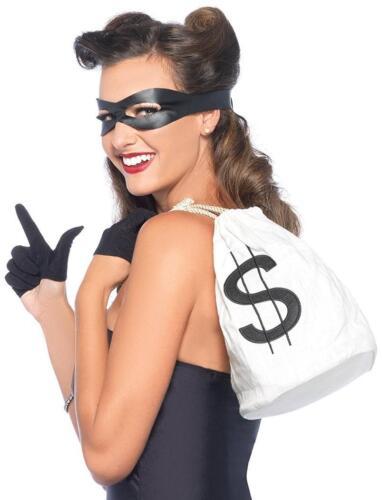 Bandit Kit Bank Robber Mask Gloves Bag Fancy Dress Halloween Costume Accessory