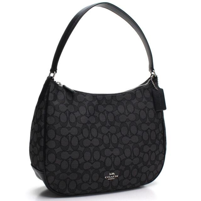 NWT Coach F29959 Signature Jacquard Zip Shoulder Bag Hobo Purse Black  Leather 58c23232180a