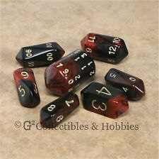 NEW 7 Red Black Crystal Oblivion RPG D&D Game Dice Set Barrel 7pc D20 D12 D4 +