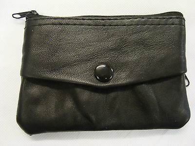 Leather Coin Purse wallet with Key Ring Black with Three Pockets