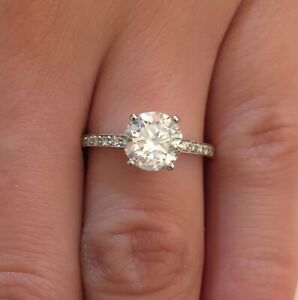 Most Beautiful Round Shape 2.00Ct 14KT Yellow Gold Solitaire With Accents Ring