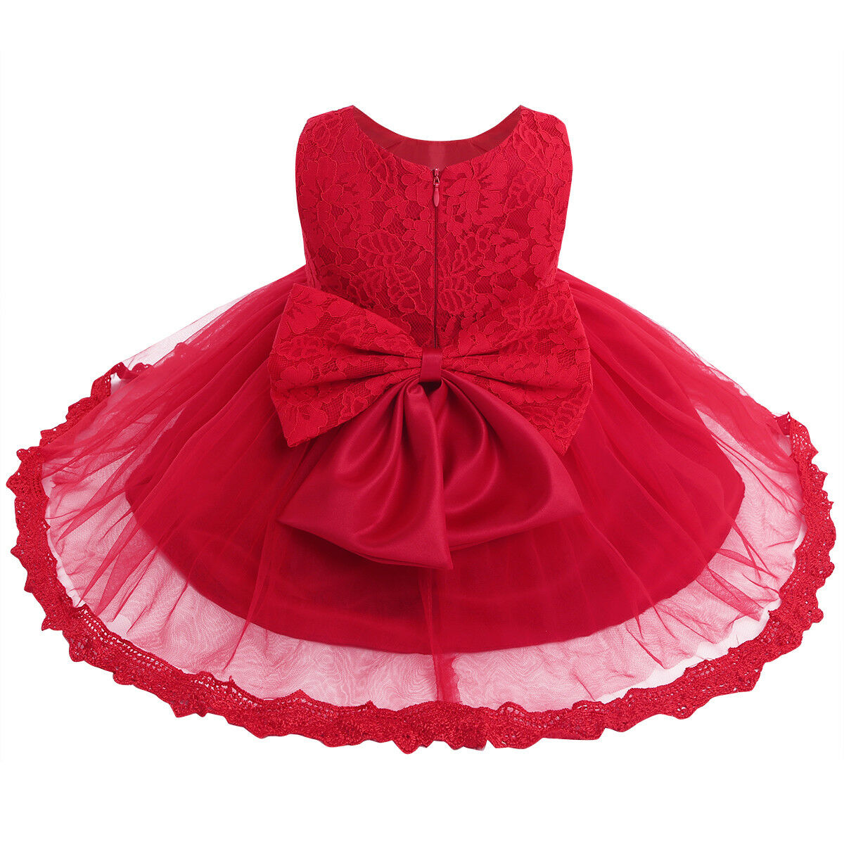 Infant//toddler//baby//girl beading red Pageant Dress 135red with hairbow