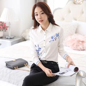Lady-White-Shirts-Formal-Work-Blouse-Women-Floral-Printed-Shirts-Chiffon-Blouse