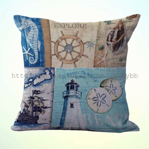 US Seller-2pcs throw cushions lighthouse ship wheel nautical cushion cover