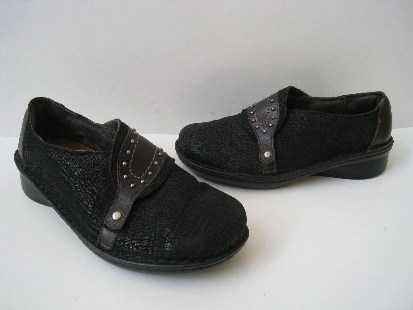 NAOT BLACK SUEDE BROWN STUDDED LEATHER SHOES SIZE US 3 EUR 37 HOT MADE IN ISRAEL