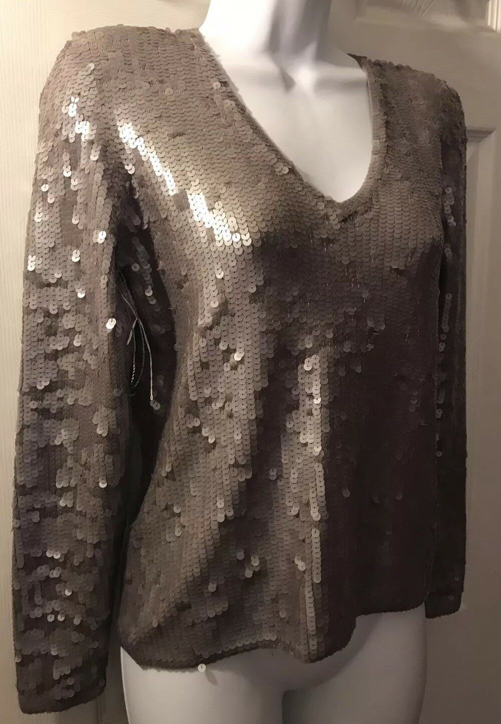 New  210 Women's WORTH New York York York Sweater Taupe Brown Sequin Knit Silk Sz P Petite d94c6d