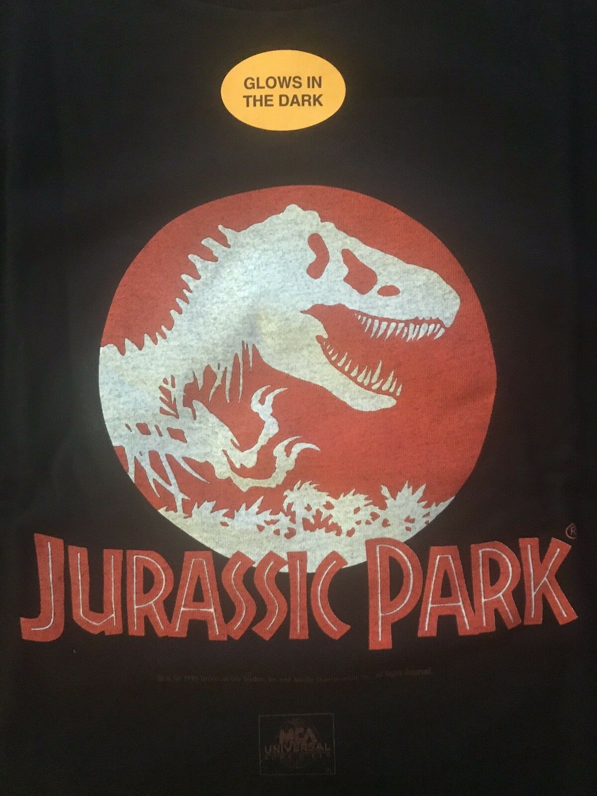 Vintage '93 JURASSIC PARK Glow In The Dark ORIGINAL MOVIE T-shirt  XL - NOS RARE