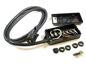 details about 7 way plug inline pre wired trailer cord junction box 8 ft wiring cable towing  cord box wiring #14