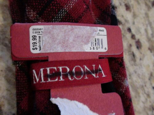 NEW Merona Red Black Gray Plaid Tie Wool Blend