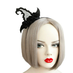 Gothic-Vintage-Black-Witch-hat-Hairband-Headband-Halloween-Party-Costume-FJ