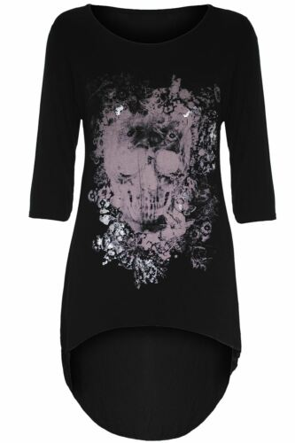 Ladies Womens High Low Top Print Butterfly Skull Foil Gothic Tunic Dip Hem Tops