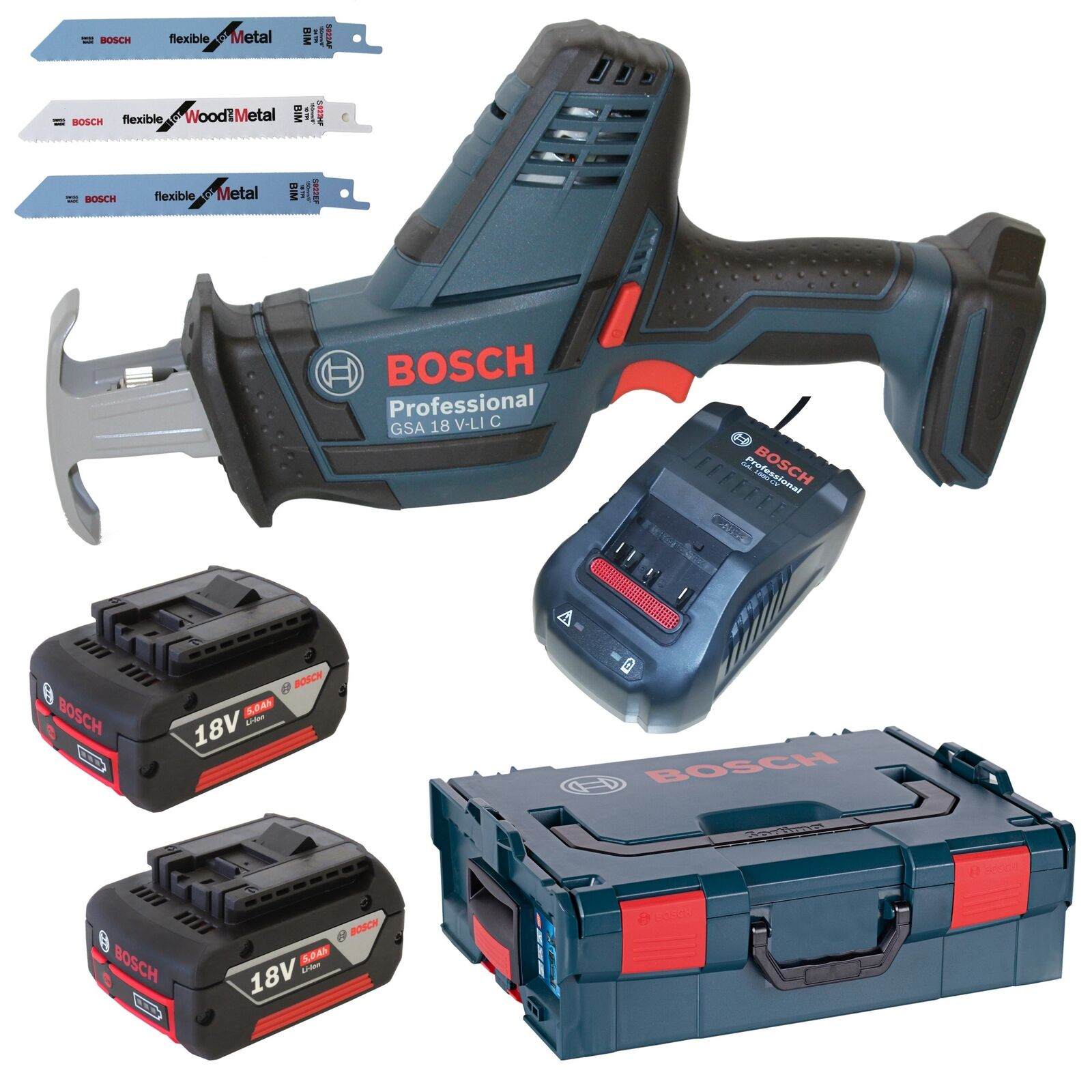 Bosch Akku-Säbelsäge GSA 18 V-LI C Prof.+ 2x 5,0AH Akku+ Ladegerät+ L-Boxx Gr. 2