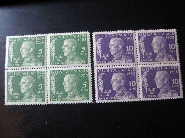 Adroit La Suède Sc. #b32-b36 Comme Neuf Neuf Sans Charnière Stamp Set Blocs De 4!