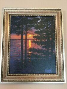 A-Beautiful-Gem-Original-O-C-Painting-034-Maine-Sunset-034-Signed-Krasny-amp-Framed