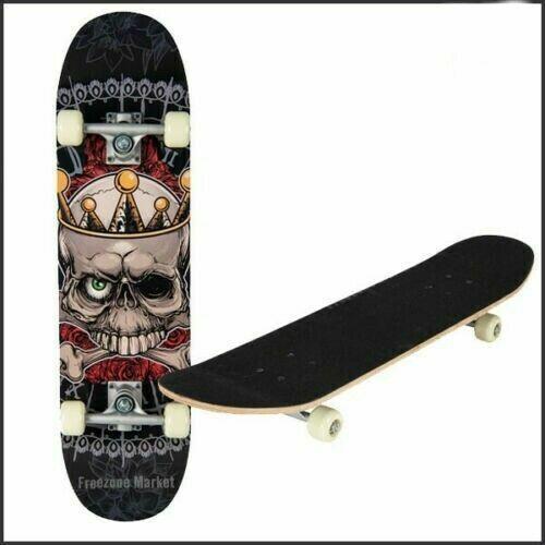 TAVOLA Skateboard Skater Grigio Skullz Deck principianti Fun Cruiser Skating 78cm