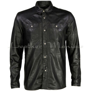 Lederhemd L weiß Hemd Leder neu Langarm leather shirt white L Cuir Pelle | eBay