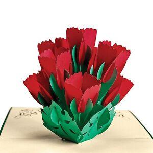 Tulips Bouquet Pop-Up Greeting Cards - Set of 4 w Envelopes - Sliceform Kirigami