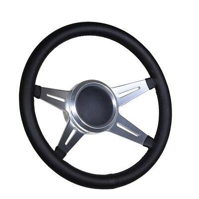 """Boat Billet steering wheel W//Adapter 3 spoke 3//4/"""" tapered key Marine Leather"""