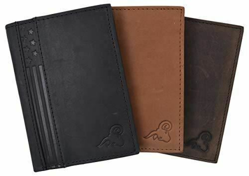 RFID Protected Mens Leather Wallet Bifold 2 ID Windows Double Bill Sections USA