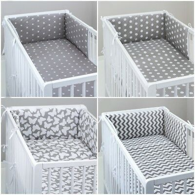 cot bed GREY ELEPHANTS 4 sides ALL ROUND BUMPER padded filled straight for cot