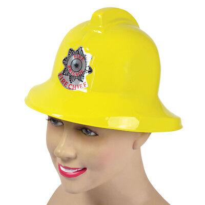 CASCO POMPIERE IN PLASTICA GIALLO-Accessorio Costume Adulto Cappello