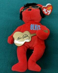 "2009 TY Original Beanie Babies Elvis Red Bear W/Tags 8"" Heartbear Hotel"